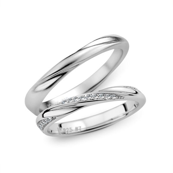 心心相印 鉑金(白金)鑽石結婚套戒(三件組)