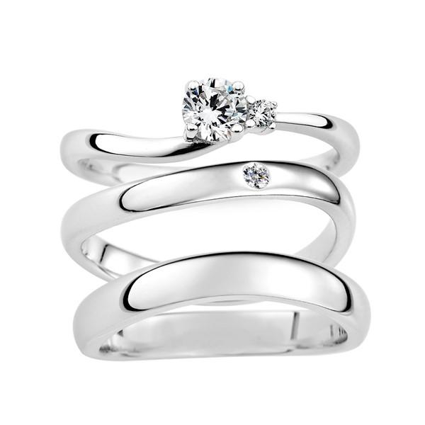 遇見愛 鉑金(白金)鑽石結婚對戒(三件組)