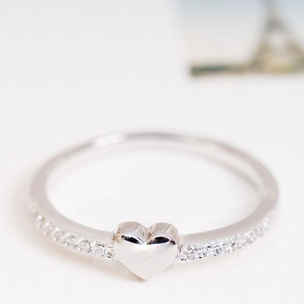閃耀之心璀鑽白金戒指