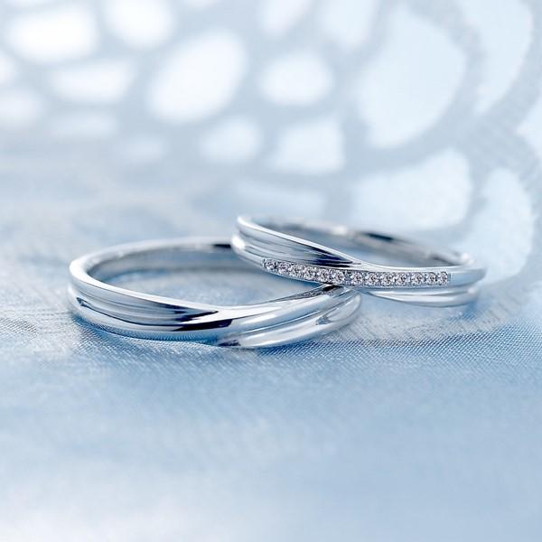 幸福交織 白金結婚對戒-女