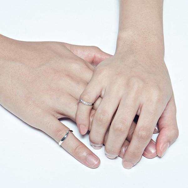 指尖的溫度白金結婚對戒-女