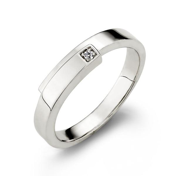 真實擁抱單鑽白金結婚對戒-女