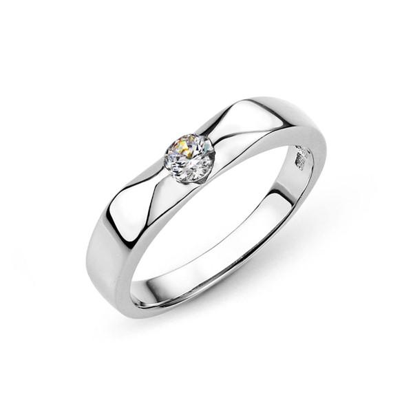 典雅單鑽切面白金結婚對戒-女