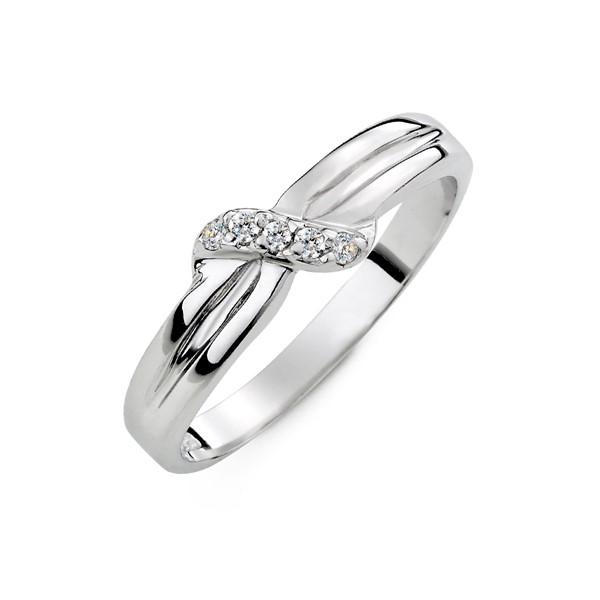 愛的相互依偎白金結婚對戒-女