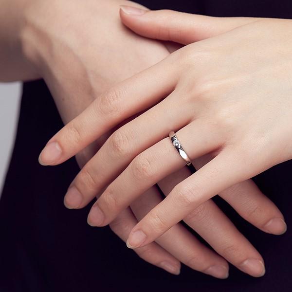 攜手一生白金結婚對戒-女