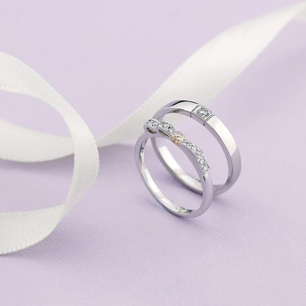 璀璨之星(蝴蝶結款)- 白金-18K金-結婚對戒-女