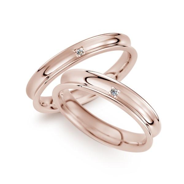 浪漫一生 玫瑰金(18K金)鑽石結婚對戒
