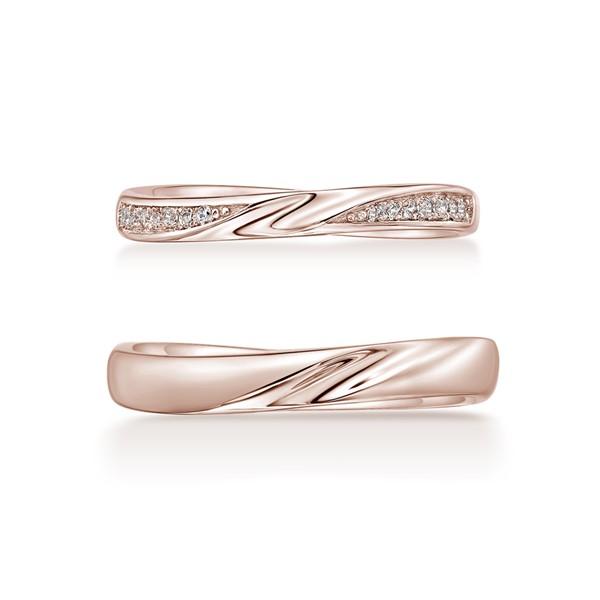 滿溢的幸福 玫瑰金(18K金)鑽石結婚對戒
