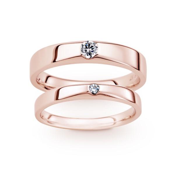 長相廝守 玫瑰金(18K金)鑽石結婚對戒