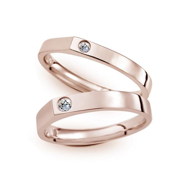珍愛曙光 玫瑰金(18K金)鑽石結婚對戒