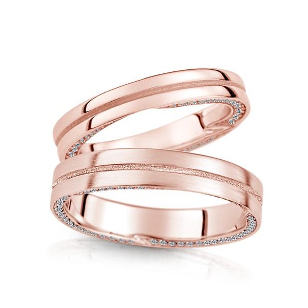 含蓄幸福時刻 玫瑰金(18K金)鑽石結婚對戒