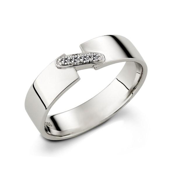 銀色舞曲滿鑽情侶戒指