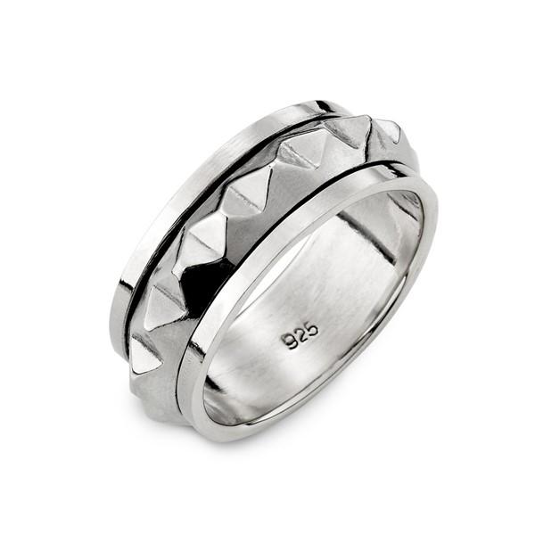 龐克造型旋轉戒指-男