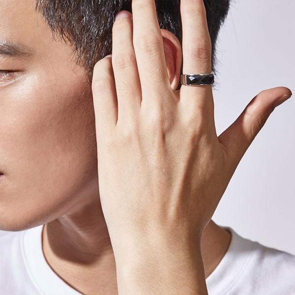 幾何切面黑瑪瑙純銀戒指