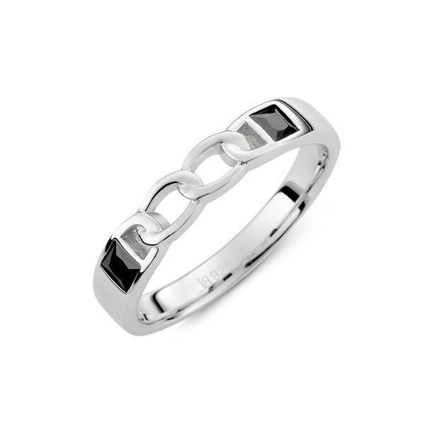 愛的扣環雙鑽純銀情侶對戒-男