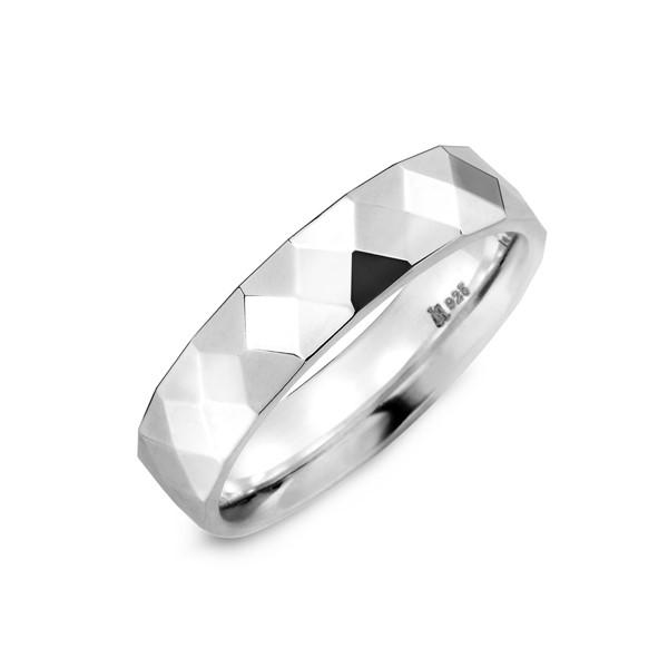 菱格純銀戒指