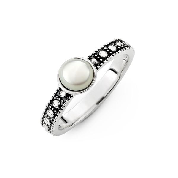 優雅珍珠染黑戒指