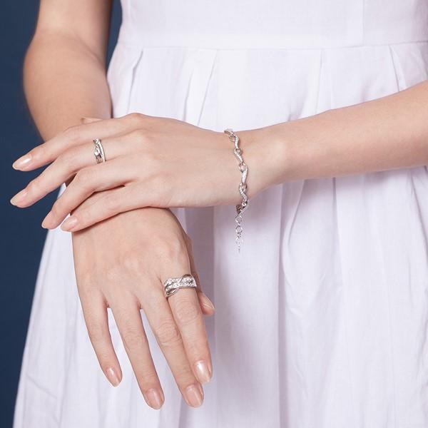 氣質流線雙鑽奢華戒指