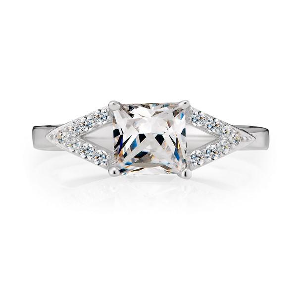 氣質方鑽奢華純銀戒指