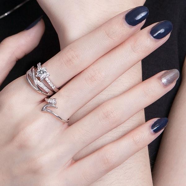 奢華交織純銀戒指