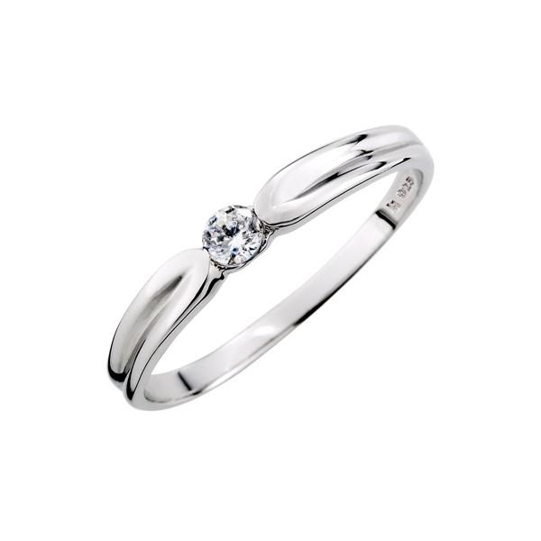 單鑽流線感純銀戒指