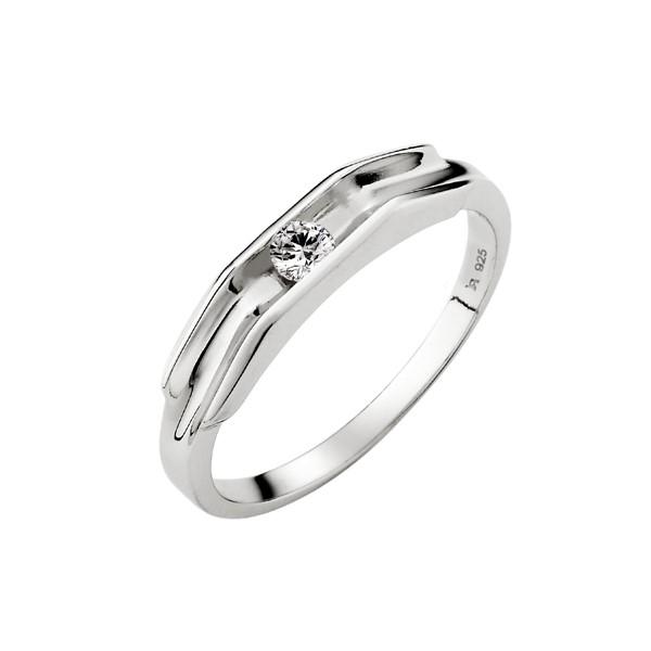 純愛單鑽純銀戒指