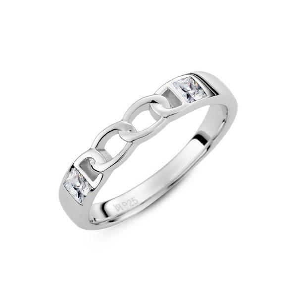 愛的扣環雙鑽純銀情侶對戒-女