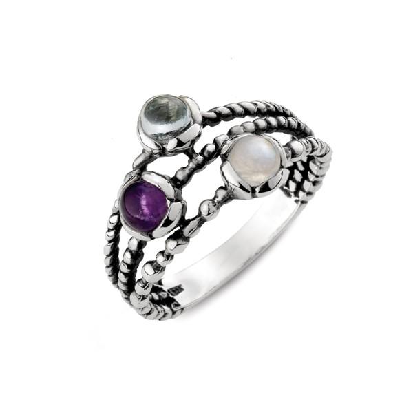 天然石精靈個性麻繩戒指
