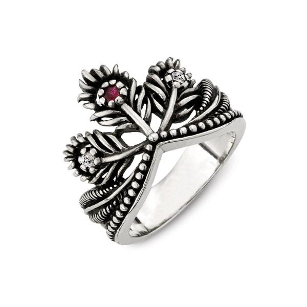 硫化花之皇冠個性戒指