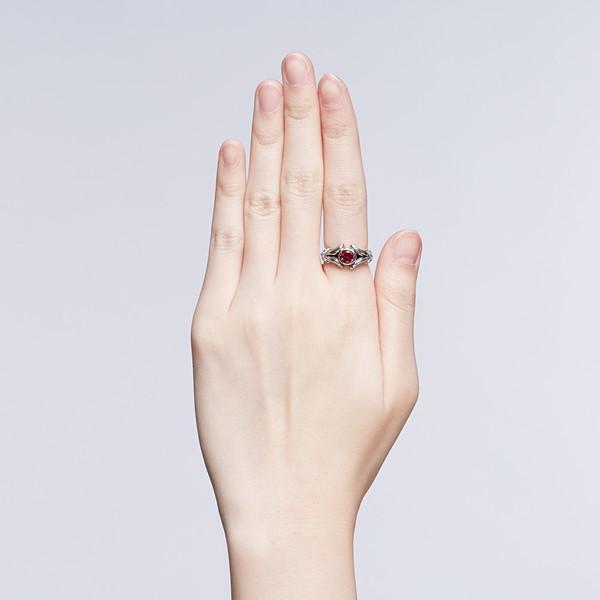 硫化朱色龐克個性戒指