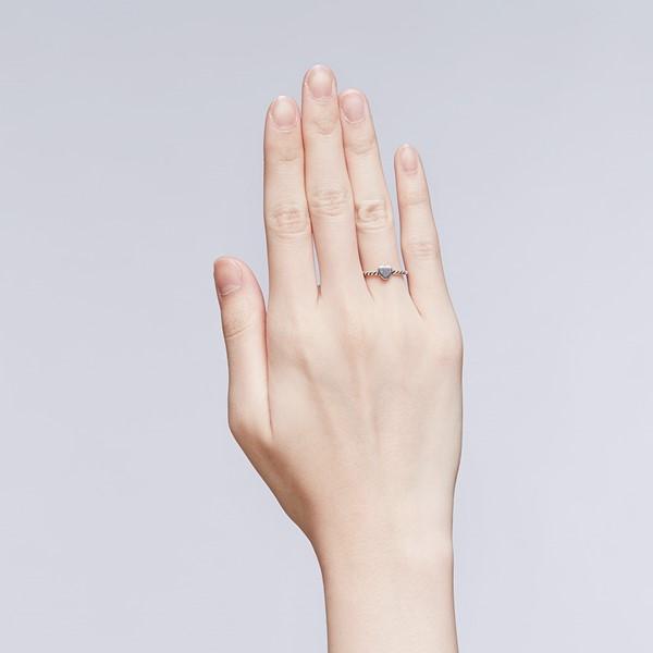 甜美愛心麻花戒指