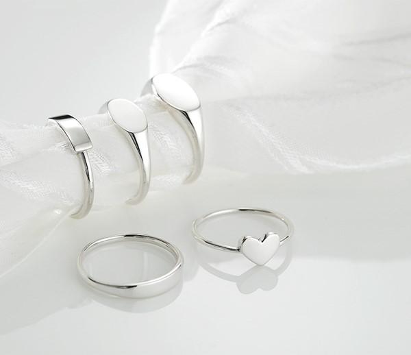 簡約 素面刻字純銀戒指
