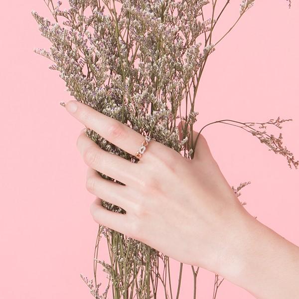 心電心心型雙色戒指