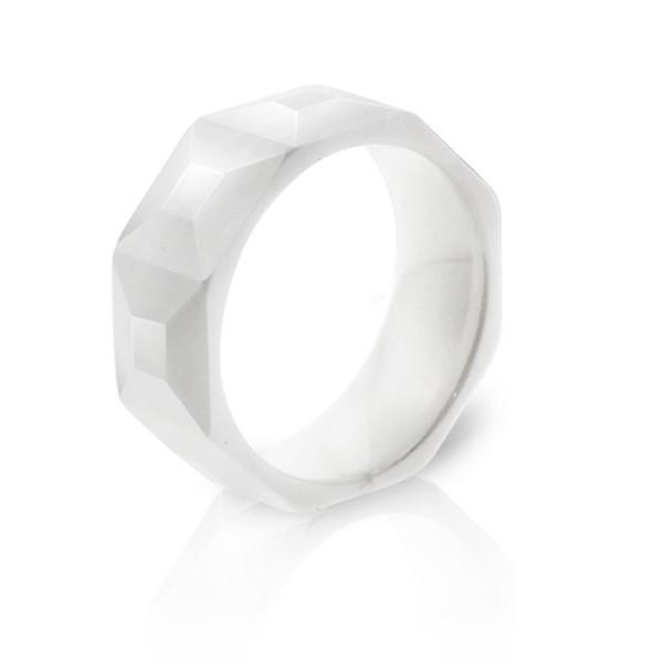 經典純淨白立體方格寬版戒指
