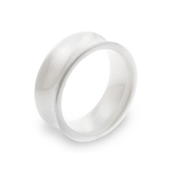 經典純淨白凹弧寬版戒指