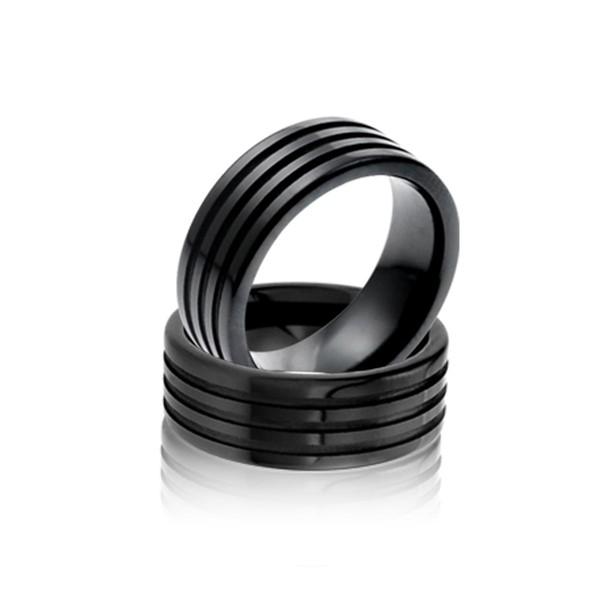 經典黑色條紋寬版戒指