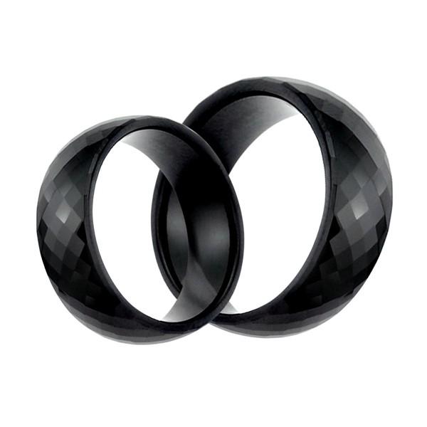 經典時尚黑菱格紋寬版戒指