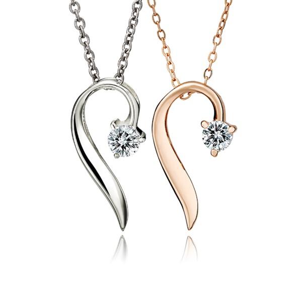 完美流線型單鑽鍍K金項鍊