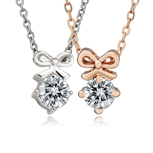 甜美蝴蝶結八心八箭單鑽鍍K金項鍊