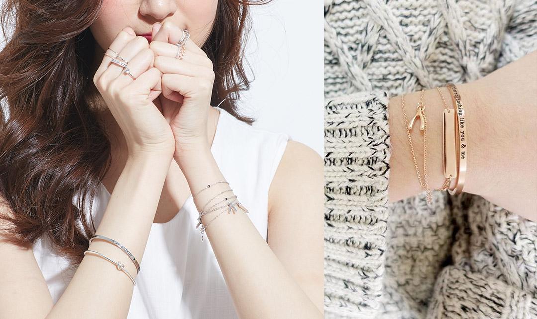 IR「混搭式」手環手鍊的戴法,將粗手環和細手鍊混搭配戴,  讓手部的視覺感更活潑,都是可以嘗試的配戴風格。