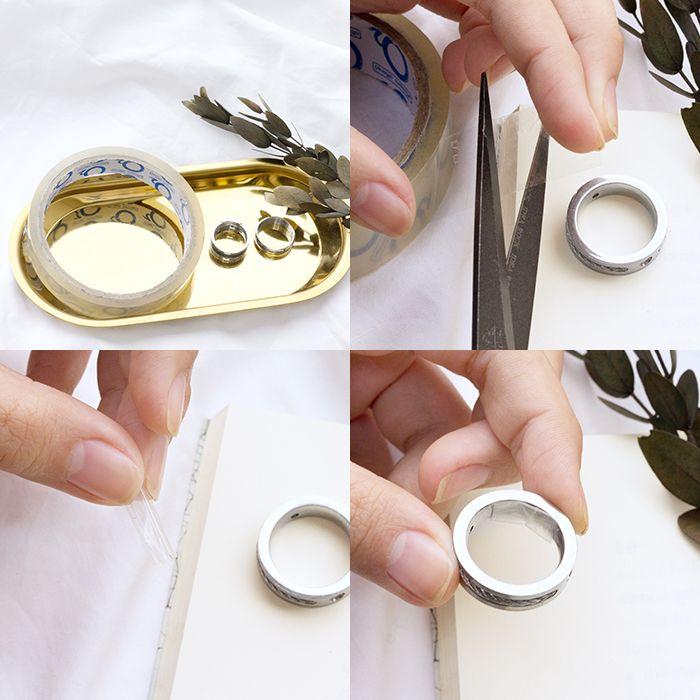 剪下透明膠帶,貼於戒圍內側,可微調戒圍尺寸。