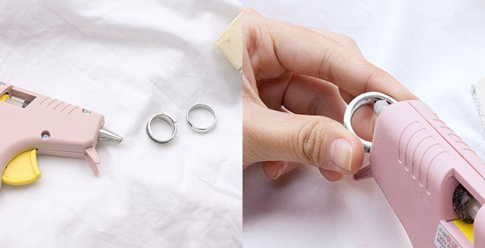利用熱熔膠黏至戒圍內圈,可微調戒圍尺寸。